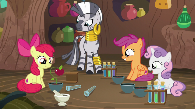 File:CMC and Zecora sees the growth of an apple plant S6E4.png