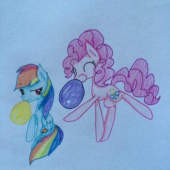 FANMADE Rainbow Dash and Pinkie Pie Blowing Up Balloons