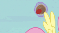 Fluttershy flies out of the way of the ball S6E18