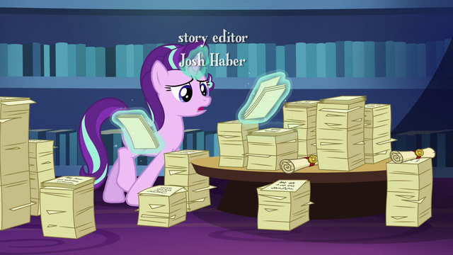 File:Starlight looks through Twilight's friendship lessons S6E1.png
