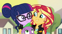 Sunset puts her arm around Twilight EG3