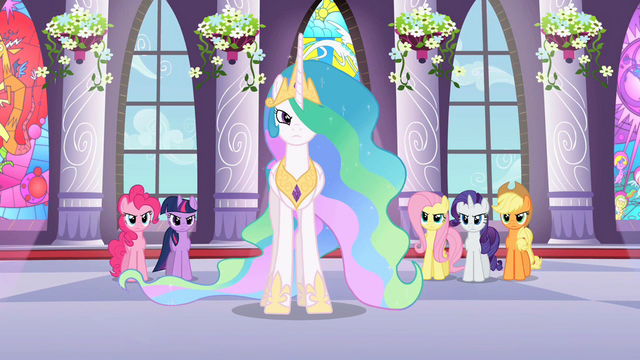 File:Celestia and main ponies frowning at Discord S2E1.png