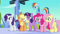 Mane Six hears Flurry Heart about to sneeze S6E2