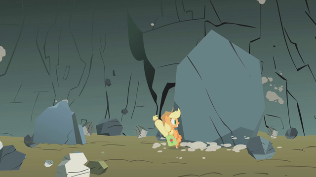 File:Applejack nearly flattened by a boulder S1E07.png