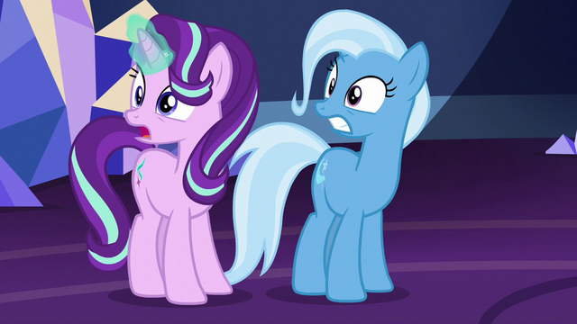File:Starlight and Trixie surprised by the Mane Six's return S7E2.png