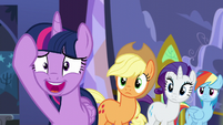 Applejack, Rarity, and Rainbow Dash sees Twilight nervous S5E11