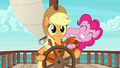 Pinkie laughing behind Applejack S6E22.png