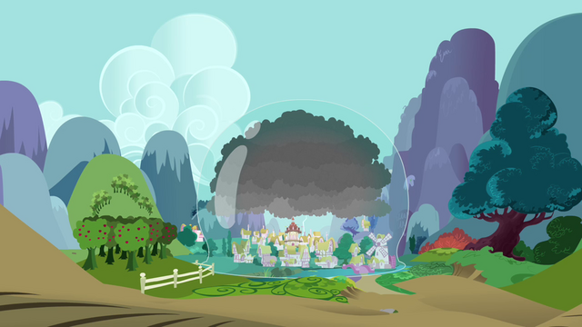 File:Ponyville covered by a dome S3E05.png