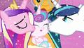 Shining Armor and Princess Cadance kisses Flurry Heart S6E2.png