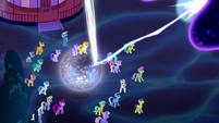 Luna fires upon the Tantabus with magic S5E13