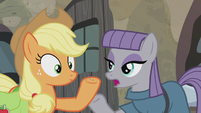 Maud notes extrusive andesite on AJ's hoof S5E20