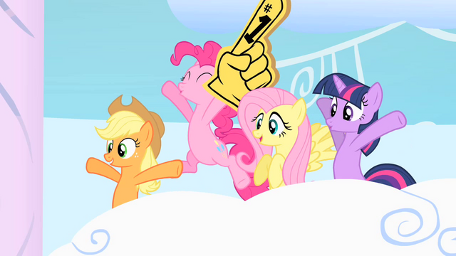File:Friends cheering when Rainbow Dash and Rarity come out S1E16.png