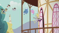 Ponies flying into town hall S5E9