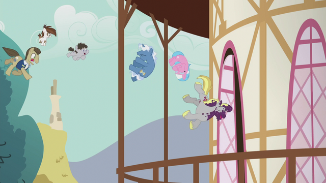 File:Ponies flying into town hall S5E9.png