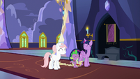 Twilight, Spike, and Redheart in happy agreement S7E3
