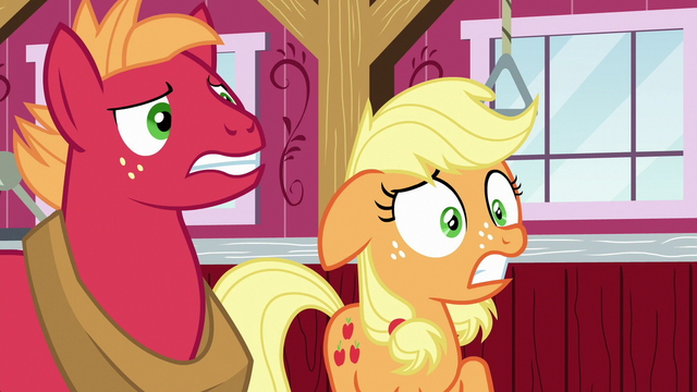 File:Applejack and Big Mac surprised by Granny's outburst S6E23.png