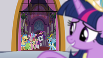Twilight looking back to her friends S03E13