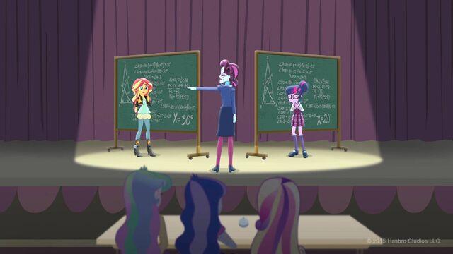 File:Sunset Shimmer, Principal Cinch and Sci-Twi Shout Kids.jpg
