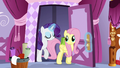 Fluttershy and Rarity reenter the boutique S6E11.png