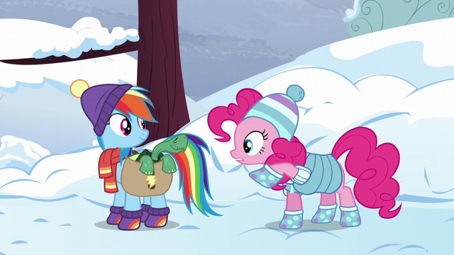 "File:Pinkie suggests a ""welcome above ground"" party S5E5.png"