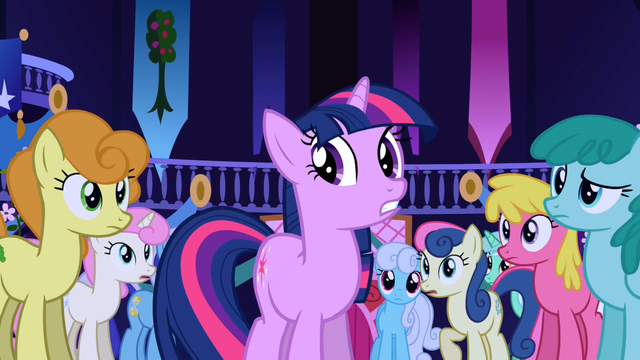 File:Popular background ponies staring at Twilight S01E01.png