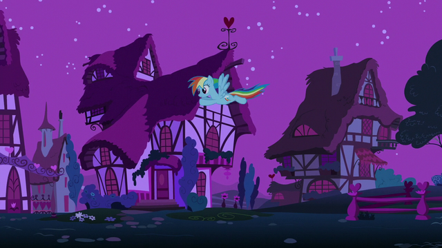 File:Rainbow flying through Ponyville at night S6E15.png