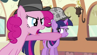 Pinkie Pie pointing at the supposed culprit S2E24