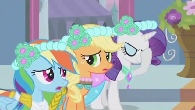 File:Rainbow Applejack and Rarity bridesmaids S2E26.png