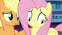 Applejack comforting Fluttershy S5E21