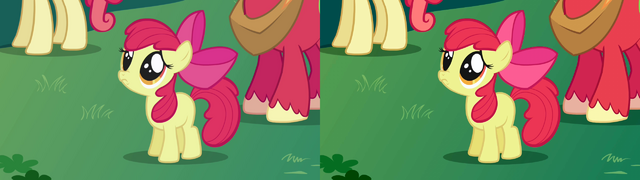 "File:FANMADE Apple Bloom ""Aren't you going to stay for brunch"" S1E01 version comparison 2.png"