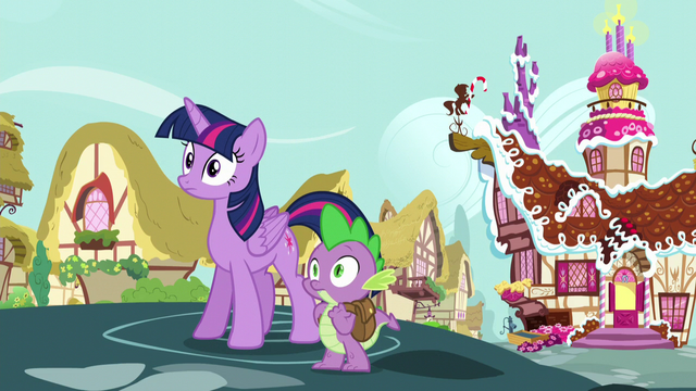 File:Twilight and Spike hear Applejack and Pinkie Pie laughing S5E22.png