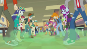 Canterlot High cafeteria clouded in green mist EG2.png