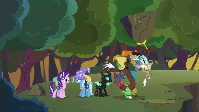 File:Discord looks for Fluttershy under a large rock S6E25.png