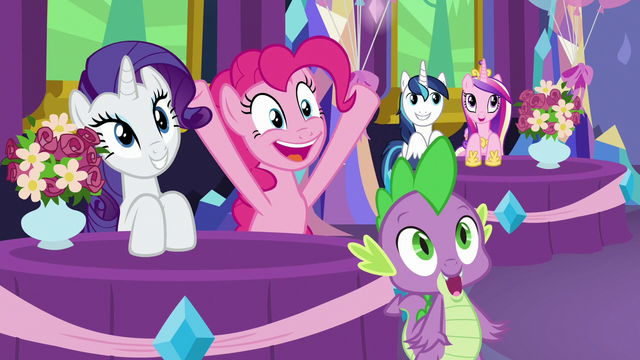 File:Rarity, Pinkie, and Spike smiling again S7E1.png