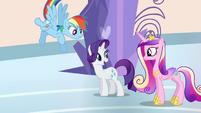 Rarity, Rainbow Dash, and Cadance in the spa S03E12