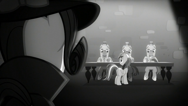 File:Rarity looks at Rainbow and the castle guards S5E15.png