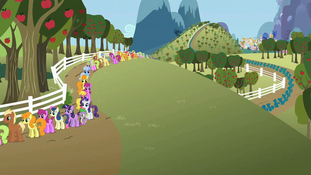 File:A lot of ponies in line for cider S2E15.png