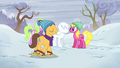Cherry Berry, Daisy, and Caramel with a snowpony S5E5.png