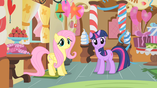 File:Fluttershy and Twilight in Sugarcube Corner S1E22.png