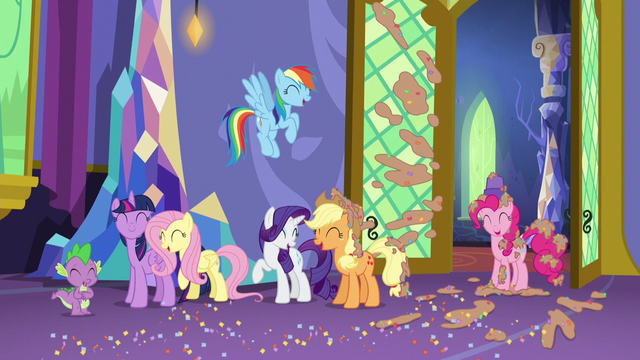 File:Mane Six and Spike group laugh S5E3.png
