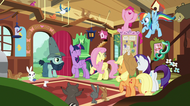 File:Mane Six and animals cheering together S7E5.png