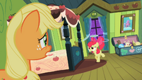 Applejack watching Apple Bloom shockingly S2E6