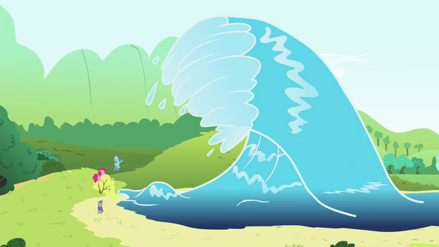 File:Big wave about to hit the ponies S4E18.png