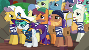 Rarity with a dozen porter ponies S6E22