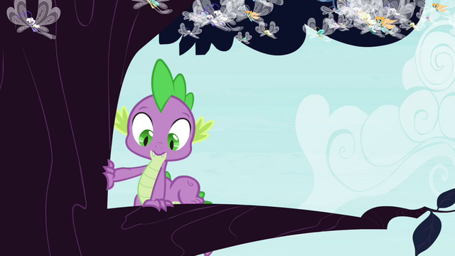 File:Spike climbs onto tree branch S4E16.png