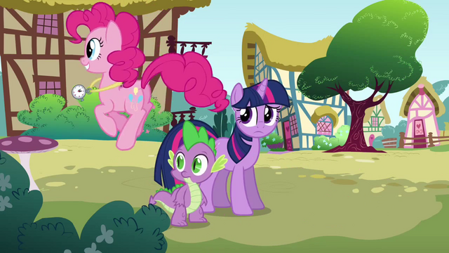File:Pinkie Pie bouncing around Twilight and Spike S3E3.png