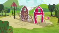 Pinkie Pie helping raise the barn S3E3