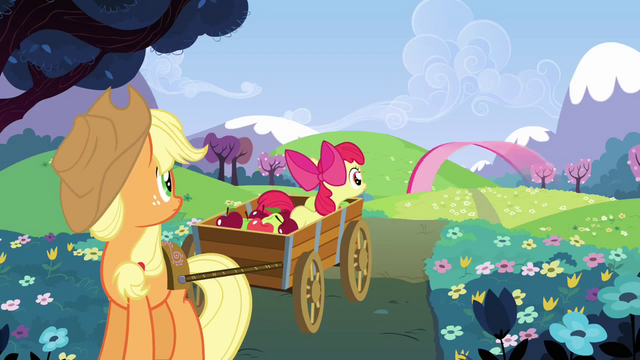 File:Applejack and Apple Bloom look at Pinkie zooming off S3E3.png