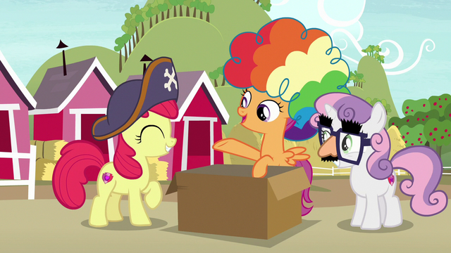"""File:Scootaloo """"make a quick escape disguised as clowns"""" S7E8.png"""