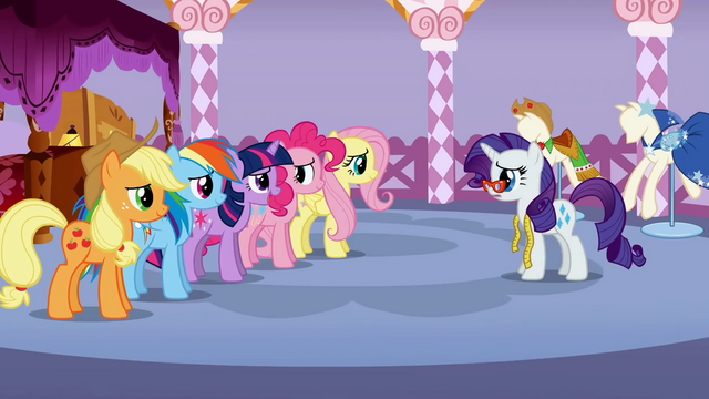 File:Speechless Rarity listening to 5 main ponies S01E14.png